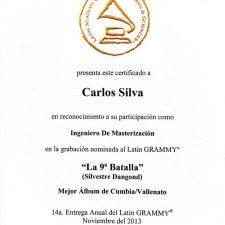 diploma-grammy-carlos-silva-la-9na-batalla